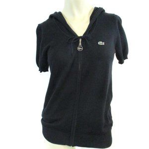 Lacoste Black Hooded Zip front Cardiga 36 US 4 NWT
